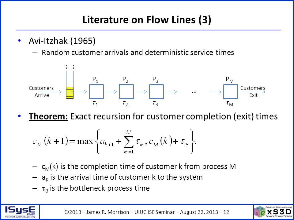 ©2013 – James R. Morrison – UIUC ISE Seminar – August 22, 2013 – 12 Literature on Flow Lines (3) Avi-Itzhak (1965) – Random customer arrivals and dete