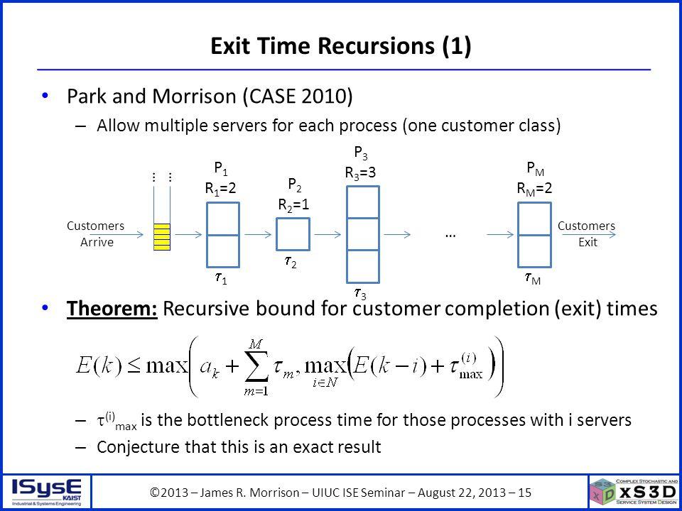 ©2013 – James R. Morrison – UIUC ISE Seminar – August 22, 2013 – 15 Exit Time Recursions (1) Park and Morrison (CASE 2010) – Allow multiple servers fo