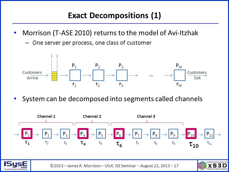 ©2013 – James R. Morrison – UIUC ISE Seminar – August 22, 2013 – 17 Exact Decompositions (1) Morrison (T-ASE 2010) returns to the model of Avi-Itzhak
