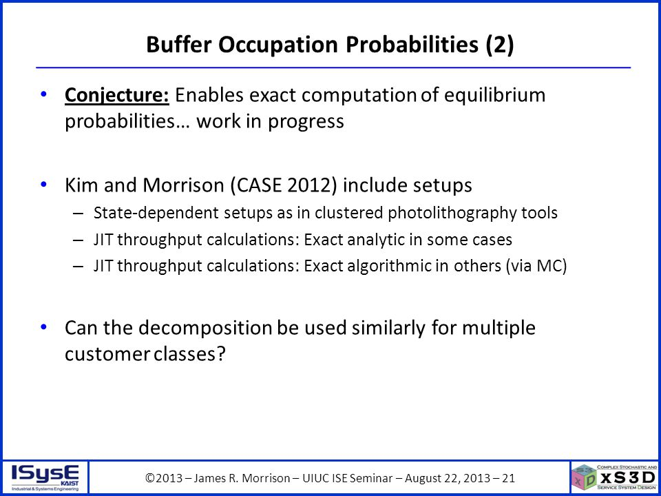 ©2013 – James R. Morrison – UIUC ISE Seminar – August 22, 2013 – 21 Buffer Occupation Probabilities (2) Conjecture: Enables exact computation of equil