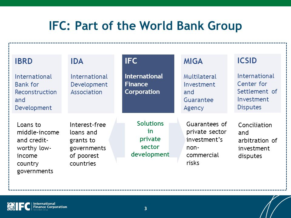 IFC: Part of the World Bank Group 3 Conciliation and arbitration of investment disputes Guarantees of private sector investment's non- commercial risk