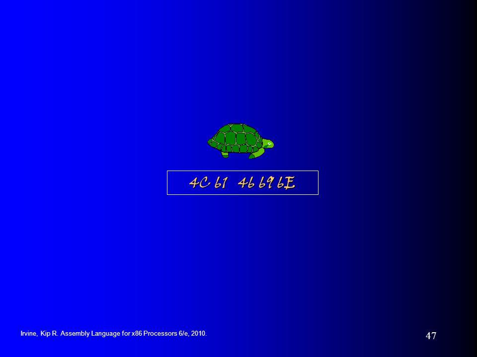 Irvine, Kip R. Assembly Language for x86 Processors 6/e, 2010. 47 4C 61 46 69 6E