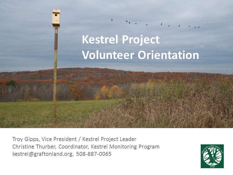 Troy Gipps, Vice President / Kestrel Project Leader Christine Thurber, Coordinator, Kestrel Monitoring Program kestrel@graftonland.org, 508-887-0065 K