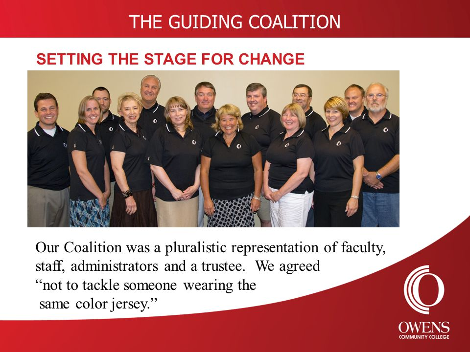 THE GUIDING COALITION SETTING THE STAGE FOR CHANGE Our Coalition was a pluralistic representation of faculty, staff, administrators and a trustee.