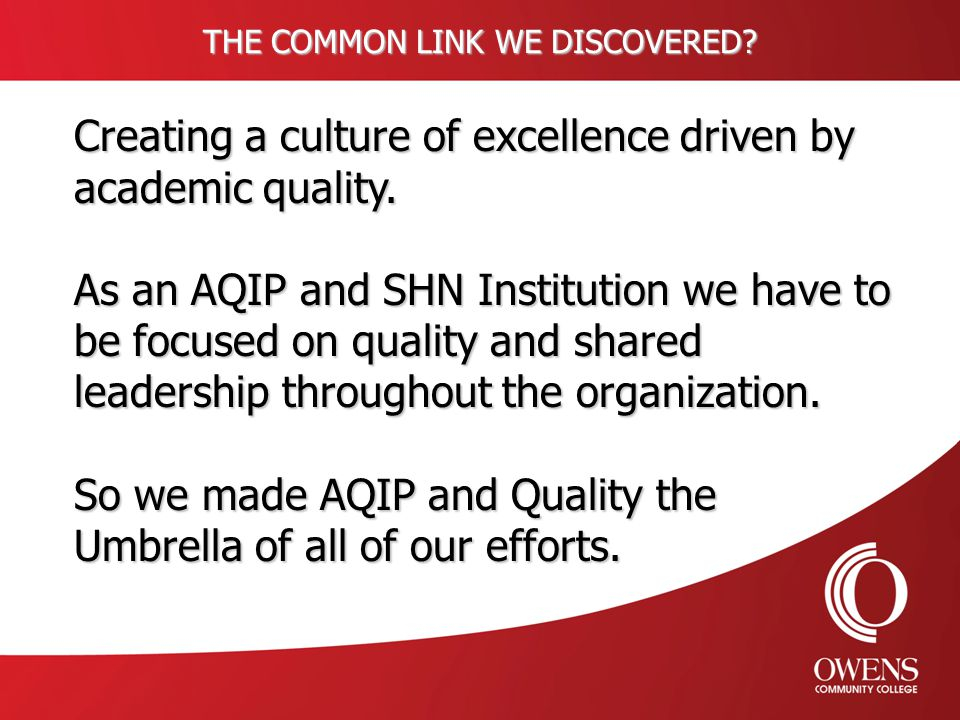 THE COMMON LINK WE DISCOVERED. Creating a culture of excellence driven by academic quality.