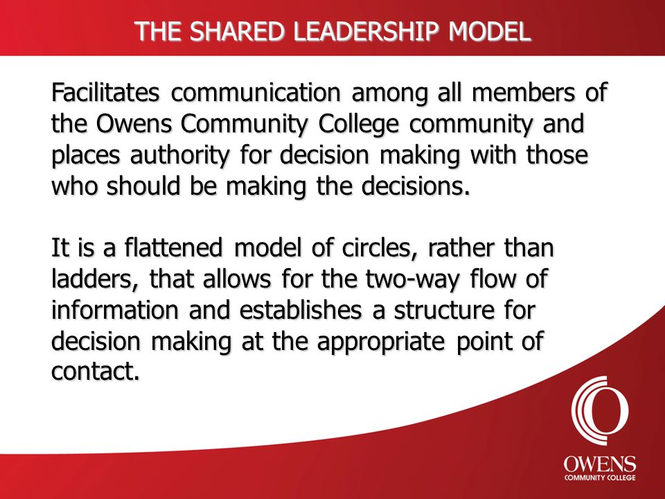 THE SHARED LEADERSHIP MODEL Facilitates communication among all members of the Owens Community College community and places authority for decision mak
