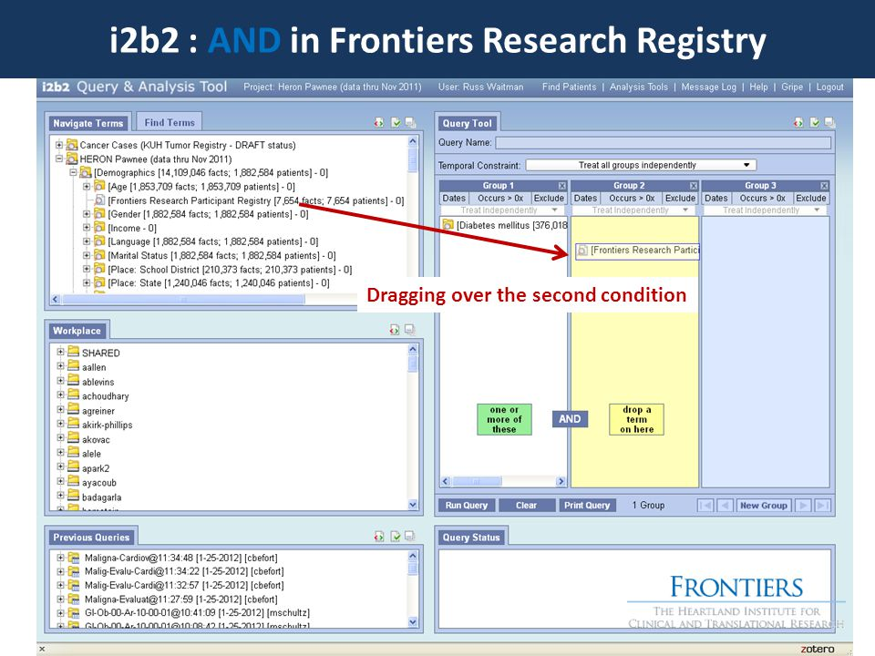 i2b2 : AND in Frontiers Research Registry Dragging over the second condition