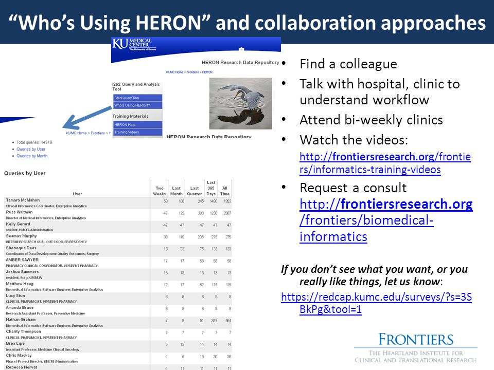 Find a colleague Talk with hospital, clinic to understand workflow Attend bi-weekly clinics Watch the videos: http://frontiersresearch.org/frontie rs/informatics-training-videos Request a consult http://frontiersresearch.org /frontiers/biomedical- informatics http://frontiersresearch.org /frontiers/biomedical- informatics If you don't see what you want, or you really like things, let us know: https://redcap.kumc.edu/surveys/ s=3S BkPg&tool=1 Who's Using HERON and collaboration approaches
