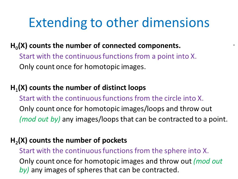 Extending to other dimensions H 0 (X) counts the number of connected components.