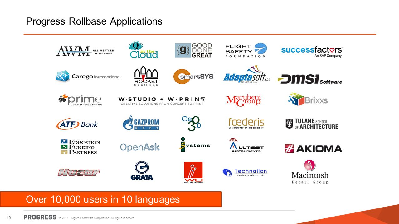 © 2014 Progress Software Corporation. All rights reserved. 19 Over 10,000 users in 10 languages Progress Rollbase Applications