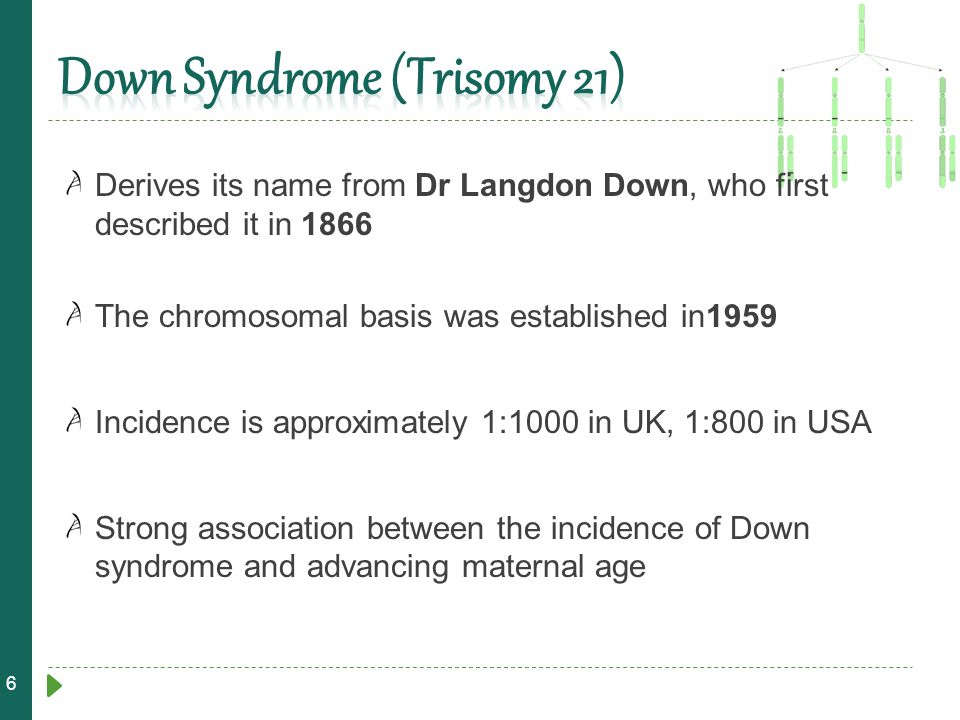 6 Derives its name from Dr Langdon Down, who first described it in 1866 The chromosomal basis was established in1959 Incidence is approximately 1:1000