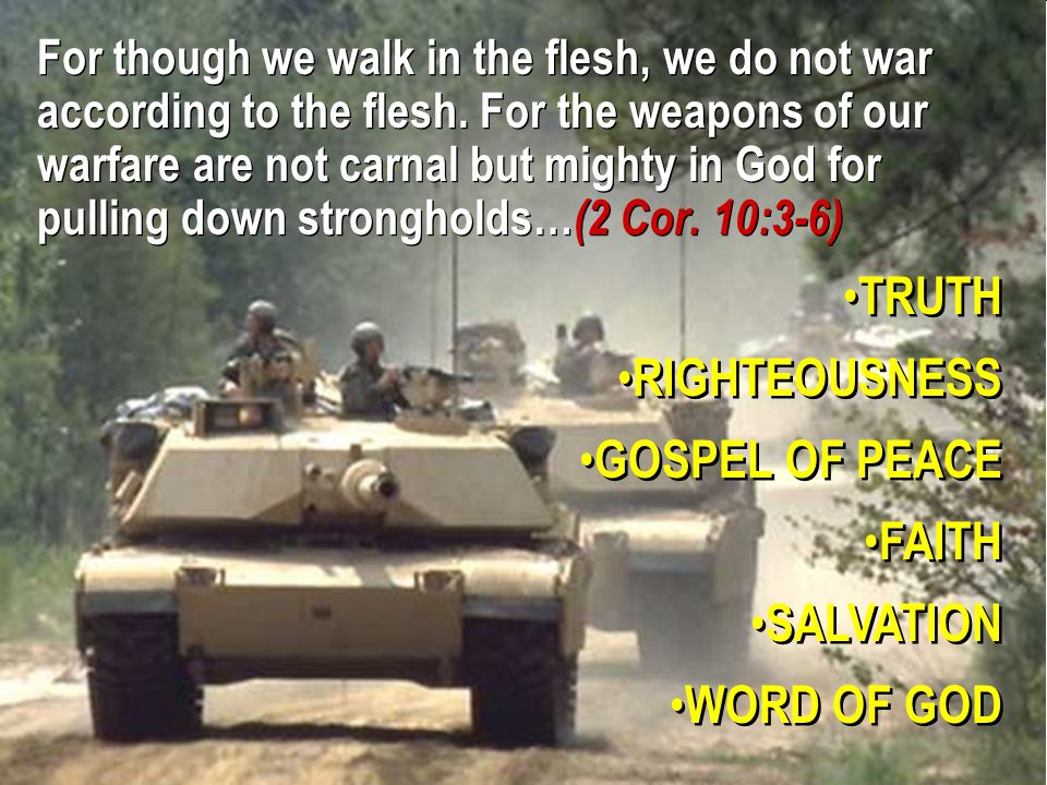10 For though we walk in the flesh, we do not war according to the flesh.