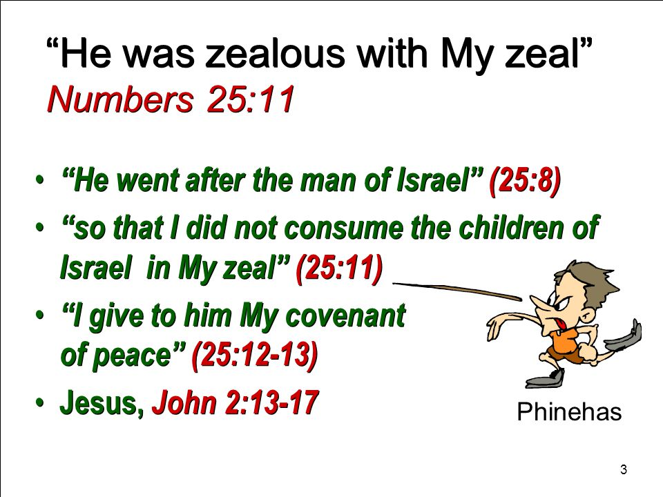 3 He was zealous with My zeal Numbers 25:11 He went after the man of Israel (25:8) so that I did not consume the children of Israel in My zeal (25:11) I give to him My covenant of peace (25:12-13) Jesus, John 2:13-17 He went after the man of Israel (25:8) so that I did not consume the children of Israel in My zeal (25:11) I give to him My covenant of peace (25:12-13) Jesus, John 2:13-17 Phinehas 3
