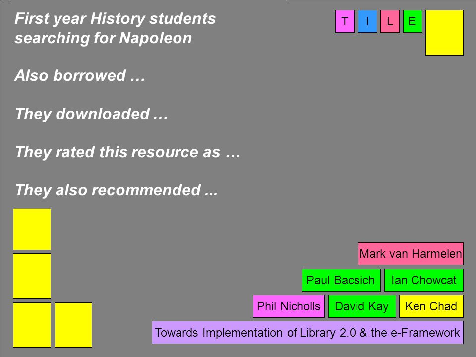 TIEL Towards Implementation of Library 2.0 & the e-Framework First year History students searching for Napoleon Also borrowed … They downloaded … They rated this resource as … They also recommended...