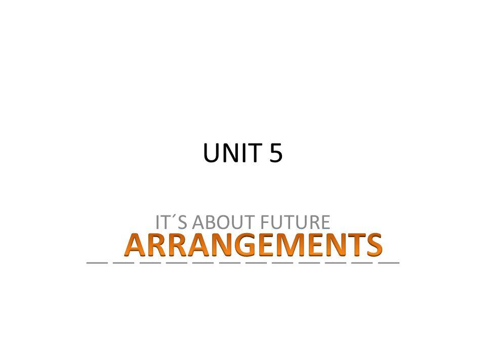 UNIT 5 IT´S ABOUT FUTURE __ __ __ __ __ __