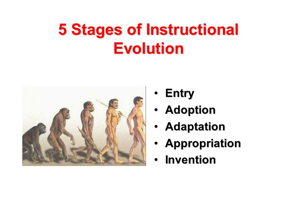 5 Stages of Instructional Evolution EntryEntry AdoptionAdoption AdaptationAdaptation AppropriationAppropriation InventionInvention