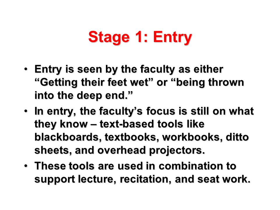 Stage 1: Entry Entry is seen by the faculty as either Getting their feet wet or being thrown into the deep end. Entry is seen by the faculty as either Getting their feet wet or being thrown into the deep end. In entry, the faculty's focus is still on what they know – text-based tools like blackboards, textbooks, workbooks, ditto sheets, and overhead projectors.In entry, the faculty's focus is still on what they know – text-based tools like blackboards, textbooks, workbooks, ditto sheets, and overhead projectors.