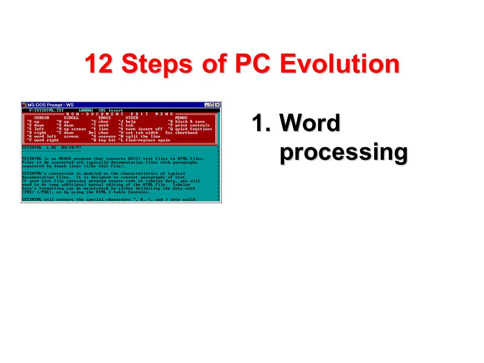 12 Steps of PC Evolution 1.Word processing
