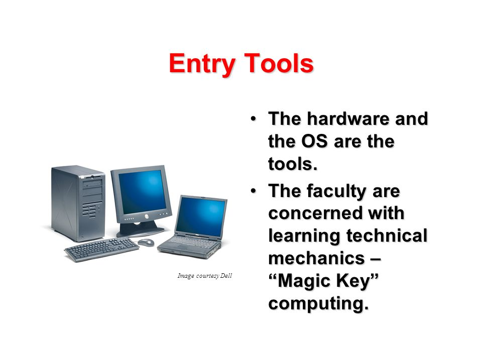 Entry Tools The hardware and the OS are the tools.The hardware and the OS are the tools.