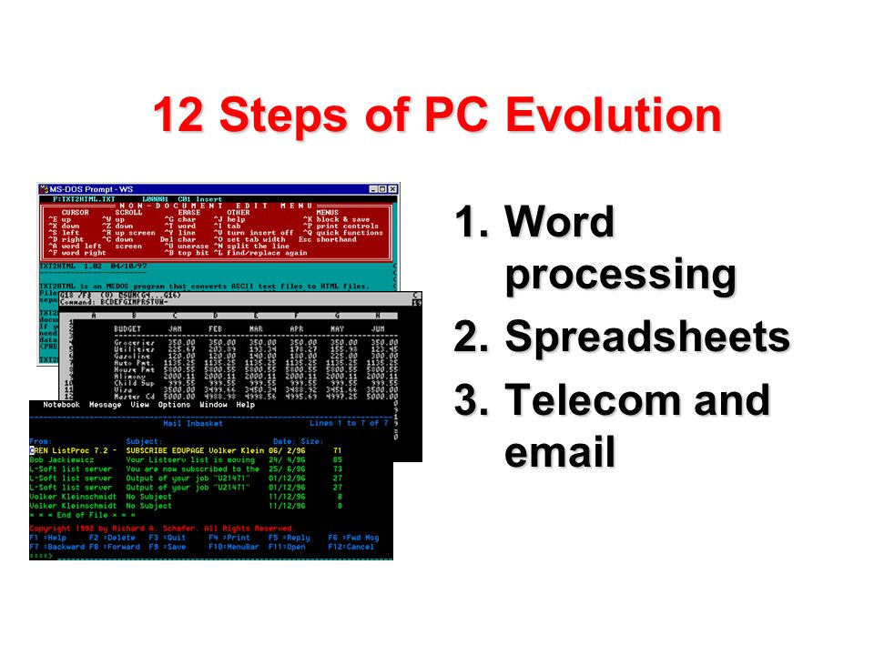 12 Steps of PC Evolution 1.Word processing 2.Spreadsheets 3.Telecom and email