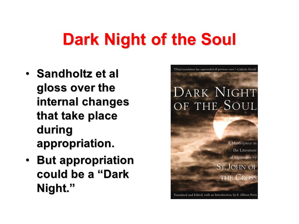 Dark Night of the Soul Sandholtz et al gloss over the internal changes that take place during appropriation.Sandholtz et al gloss over the internal changes that take place during appropriation.