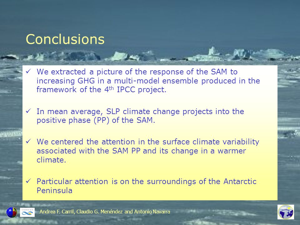 Future climate SAM-PP-related variability SLP (future conditions) SW SLP (present conditions) SW Andrea F.