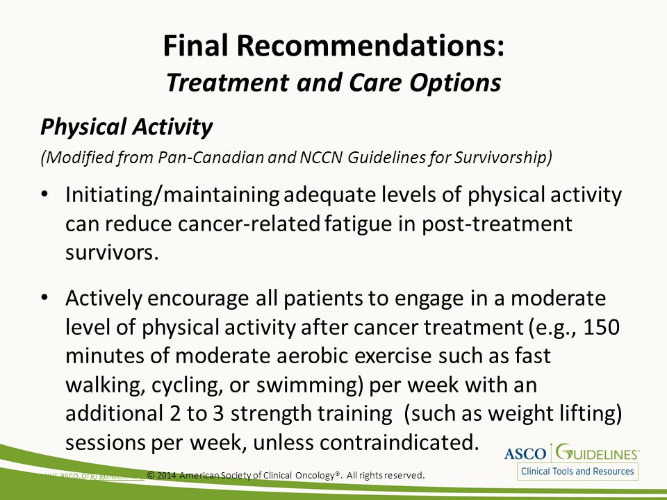 Final Recommendations: Treatment and Care Options Physical Activity (Modified from Pan-Canadian and NCCN Guidelines for Survivorship) Initiating/maintaining adequate levels of physical activity can reduce cancer-related fatigue in post-treatment survivors.