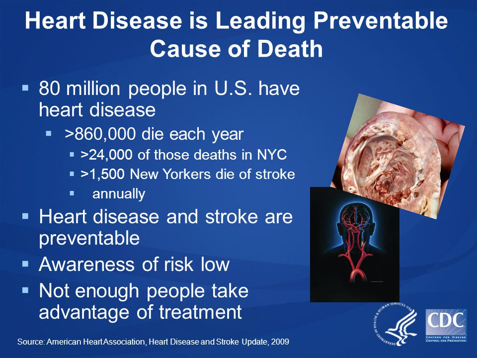 Heart Disease is Leading Preventable Cause of Death  80 million people in U.S.
