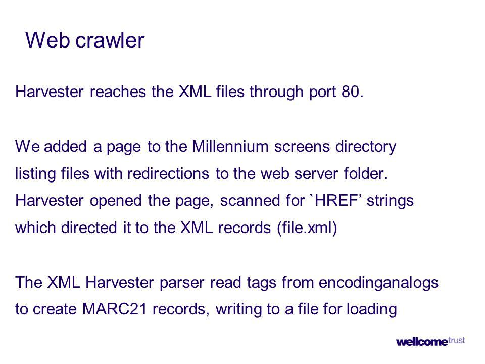 Web crawler Harvester reaches the XML files through port 80.