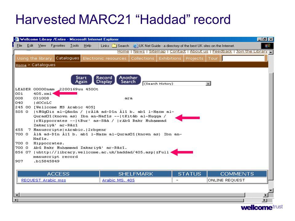 "Harvested MARC21 ""Haddad"" record"