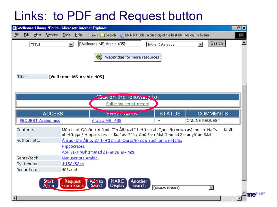 Links: to PDF and Request button