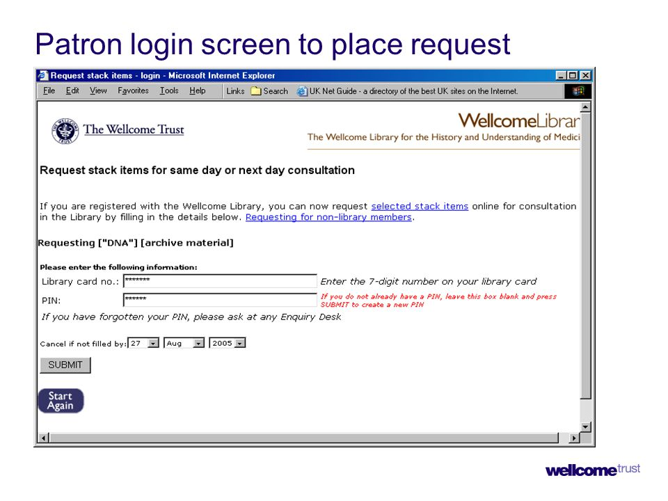 Patron login screen to place request