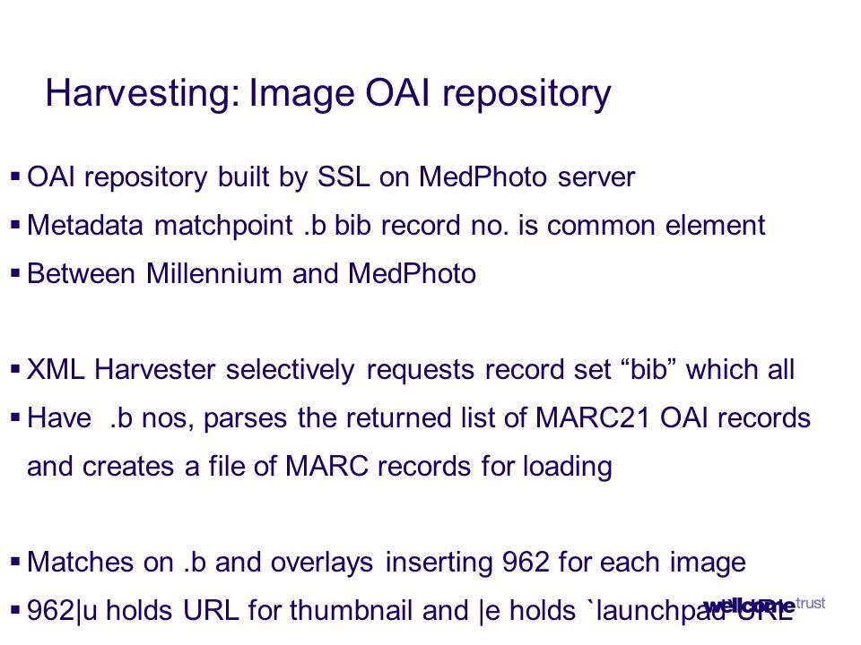 Harvesting: Image OAI repository  OAI repository built by SSL on MedPhoto server  Metadata matchpoint.b bib record no.
