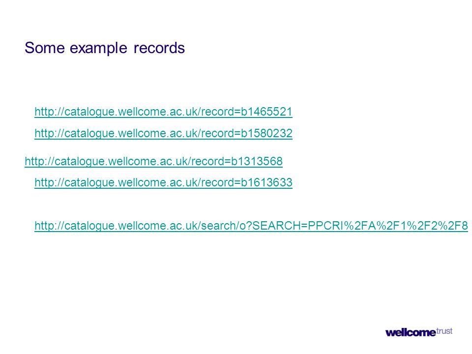 Some example records http://catalogue.wellcome.ac.uk/record=b1465521 http://catalogue.wellcome.ac.uk/record=b1580232 http://catalogue.wellcome.ac.uk/record=b1313568http://catalogue.wellcome.ac.uk/record=b1580232 http://catalogue.wellcome.ac.uk/record=b1313568 http://catalogue.wellcome.ac.uk/record=b1613633 http://catalogue.wellcome.ac.uk/search/o?SEARCH=PPCRI%2FA%2F1%2F2%2F8