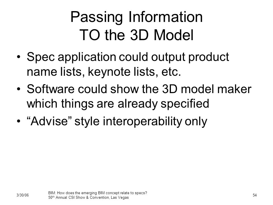 3/30/06 BIM: How does the emerging BIM concept relate to specs.