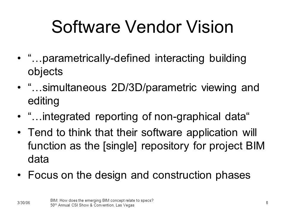"""3/30/06 BIM: How does the emerging BIM concept relate to specs? 50 th Annual CSI Show & Convention, Las Vegas 8 Software Vendor Vision """"…parametricall"""