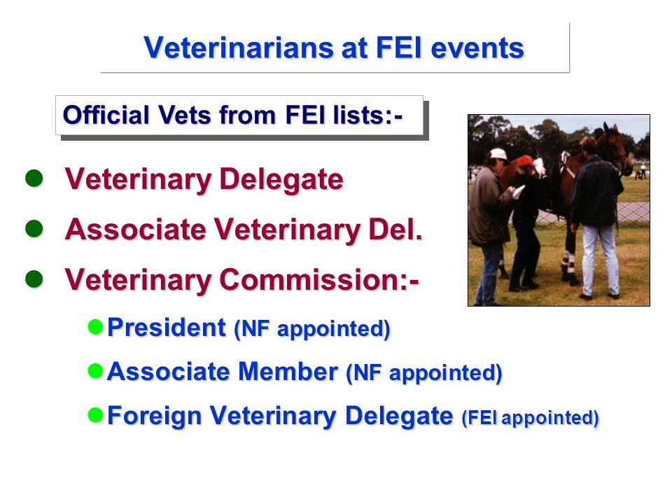 Veterinary Delegate Veterinary Delegate Associate Veterinary Del.
