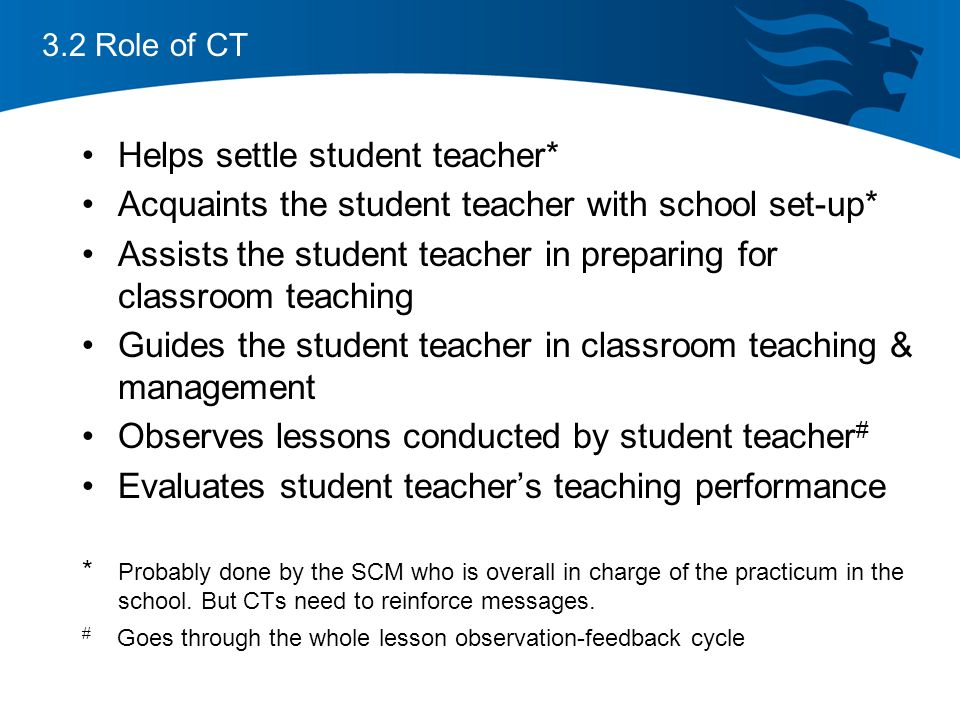 3.2 Role of CT Helps settle student teacher* Acquaints the student teacher with school set-up* Assists the student teacher in preparing for classroom teaching Guides the student teacher in classroom teaching & management Observes lessons conducted by student teacher # Evaluates student teacher's teaching performance * Probably done by the SCM who is overall in charge of the practicum in the school.