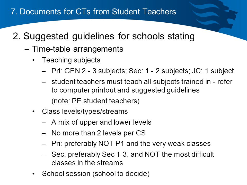 7. Documents for CTs from Student Teachers 2.