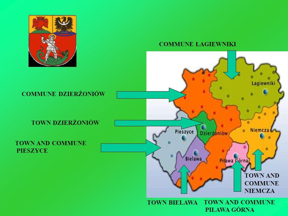 TOWN AND COMMUNE PIESZYCE TOWN BIELAWA TOWN AND COMMUNE PIŁAWA GÓRNA TOWN DZIERŻONIÓW COMMUNE DZIERŻONIÓW COMMUNE ŁAGIEWNIKI TOWN AND COMMUNE NIEMCZA