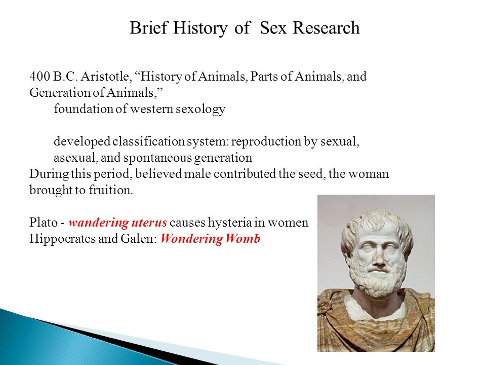 "Brief History of Sex Research 400 B.C. Aristotle, ""History of Animals, Parts of Animals, and Generation of Animals,"" foundation of western sexology de"