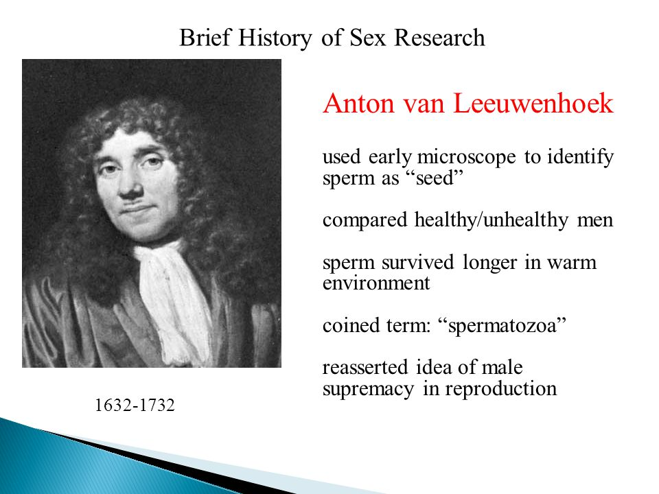Brief History of Sex Research Anton van Leeuwenhoek used early microscope to identify sperm as seed compared healthy/unhealthy men sperm survived longer in warm environment coined term: spermatozoa reasserted idea of male supremacy in reproduction 1632-1732