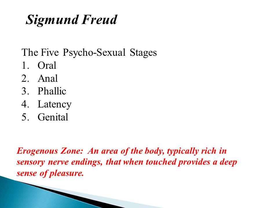 Sigmund Freud The Five Psycho-Sexual Stages 1.Oral 2.Anal 3.Phallic 4.Latency 5.Genital Erogenous Zone: An area of the body, typically rich in sensory nerve endings, that when touched provides a deep sense of pleasure.