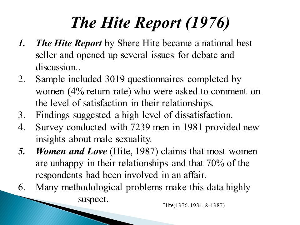 1.The Hite Report by Shere Hite became a national best seller and opened up several issues for debate and discussion..