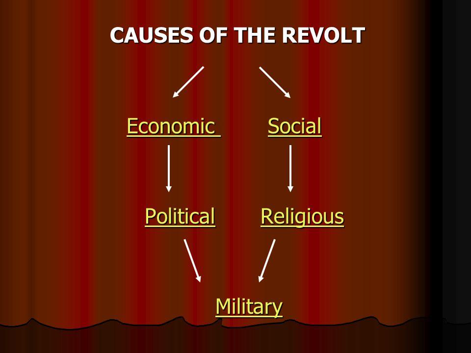 CAUSES OF THE REVOLT CAUSES OF THE REVOLT Economic Economic Social Social Economic Social Political Religious Political ReligiousPoliticalReligiousPoliticalReligious Military MilitaryMilitary