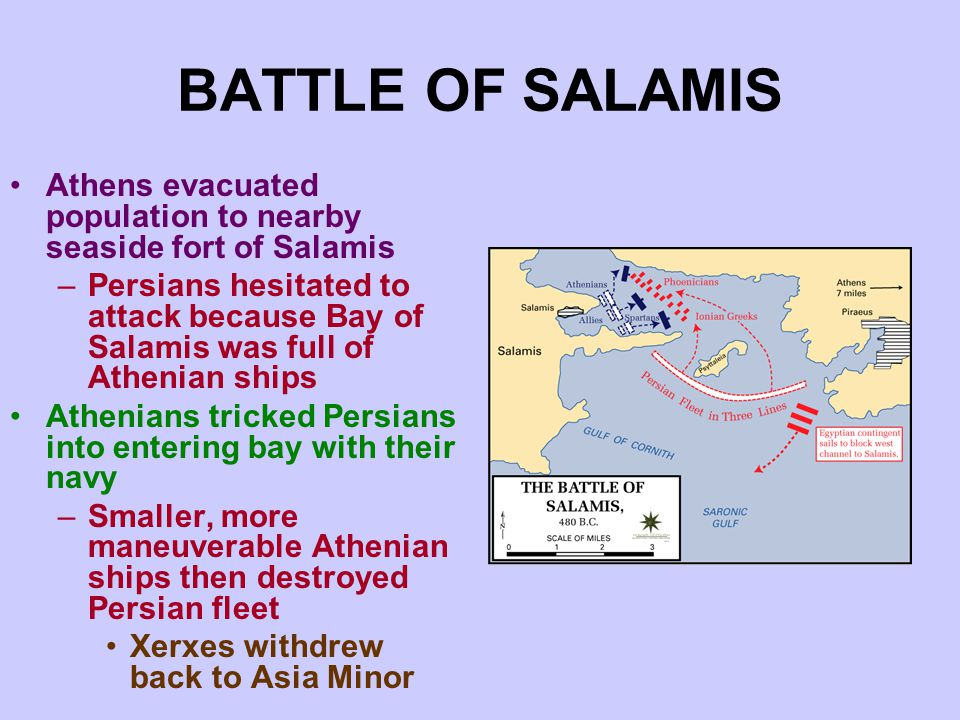 BATTLE OF SALAMIS Athens evacuated population to nearby seaside fort of Salamis –Persians hesitated to attack because Bay of Salamis was full of Athenian ships Athenians tricked Persians into entering bay with their navy –Smaller, more maneuverable Athenian ships then destroyed Persian fleet Xerxes withdrew back to Asia Minor