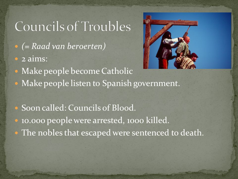 Egmont and Hoorne were executed. They were 2 of the nobles that had warned Philip earlier.