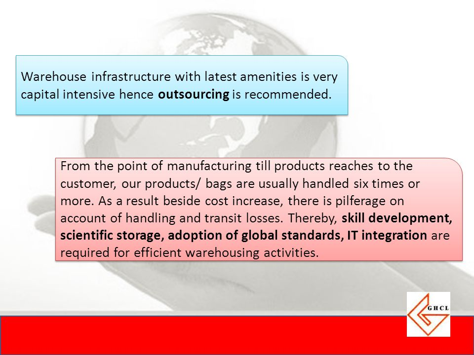 Warehouse infrastructure with latest amenities is very capital intensive hence outsourcing is recommended.
