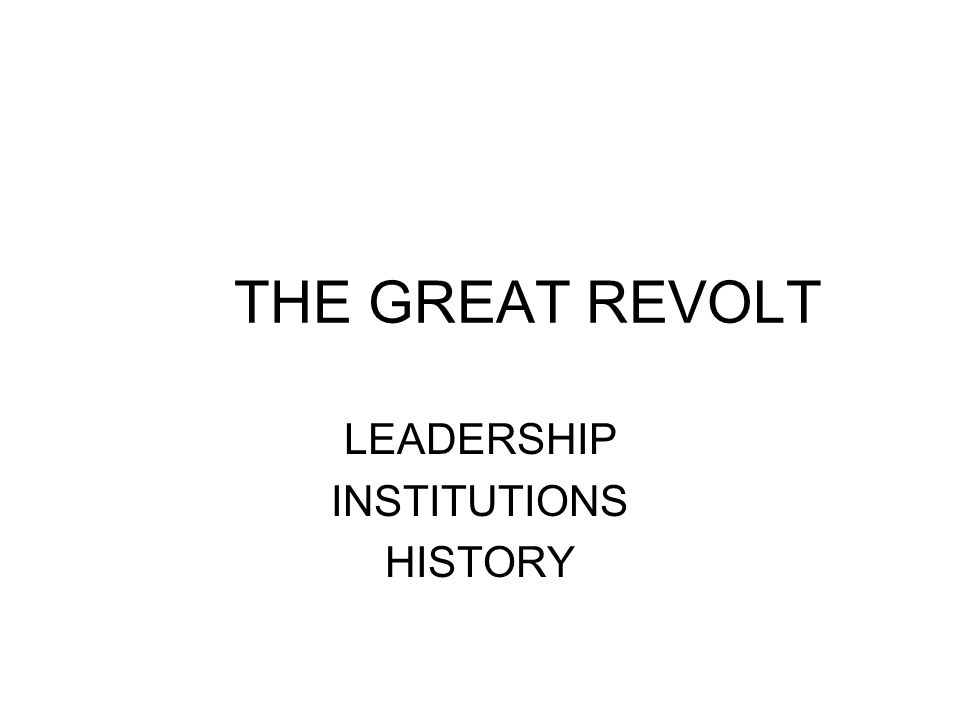 THE GREAT REVOLT LEADERSHIP INSTITUTIONS HISTORY