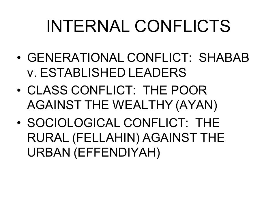 INTERNAL CONFLICTS GENERATIONAL CONFLICT: SHABAB v.